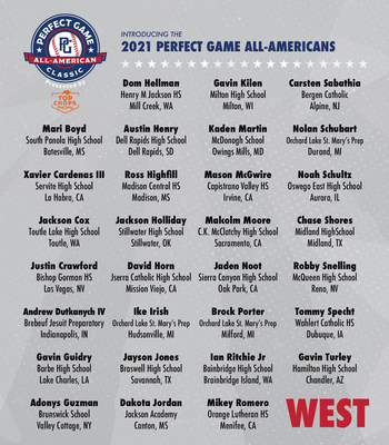 Team West will look to extend its winning streak to six games when it takes on Team East in the 19th annual Perfect Game All-American Classic Presented by TOP Chops, Sunday, August 22 at Petco Park in San Diego, CA.