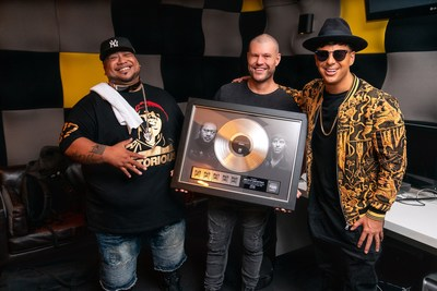 Director Shaun David Barker with Timmy Trumpet and Savage in Sydney, celebrating their multi-platinum record 'Freaks'.
