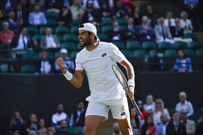 ATP world No. 8 ranked tennis star Matteo Berrettini in Lotto at 2021 Wimbledon Men's Finals.