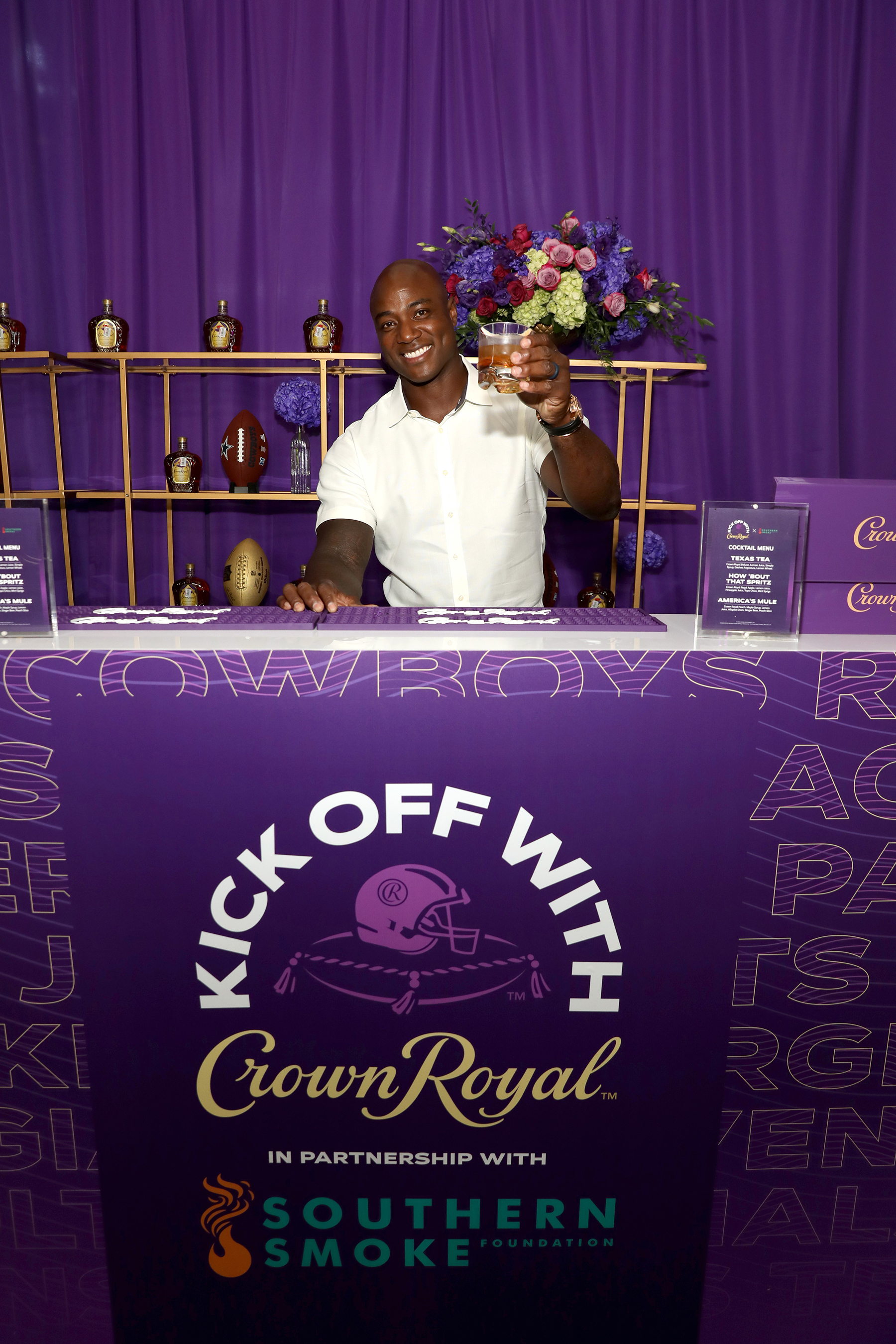 Dallas Cowboys legend DeMarcus Ware joins Crown Royal to support hospitality workers during the brand's 'Kick Off with Crown Royal' event at AT&T Stadium on Wednesday, September 8.