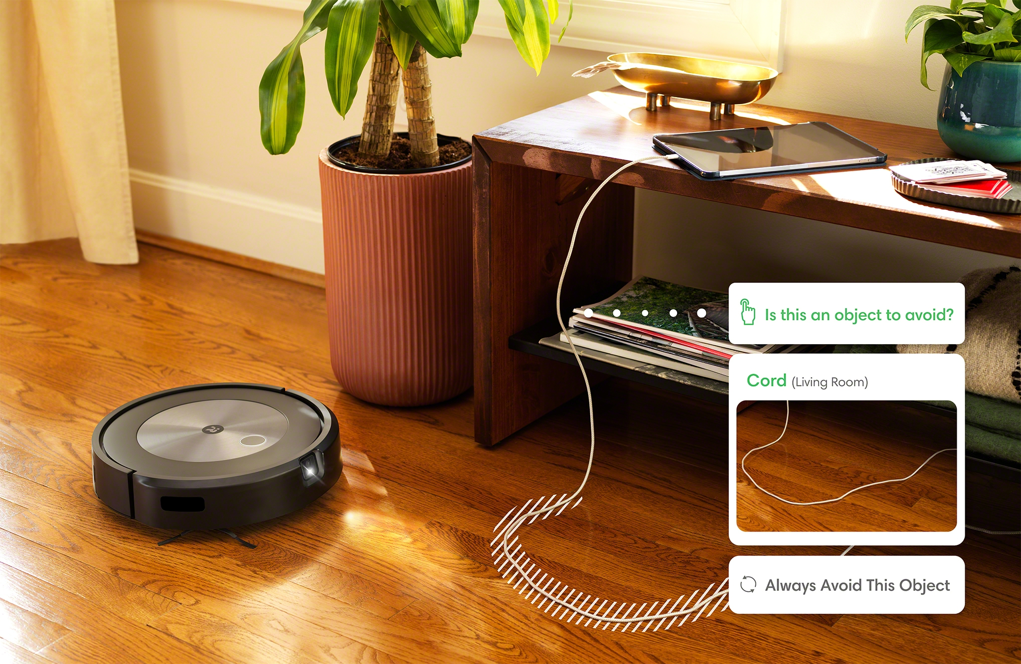 The iRobot Roomba j7+ reacts to objects in the home with PrecisionVision Navigation, giving the robot the ability to identify and avoid common obstacles, such as cords.