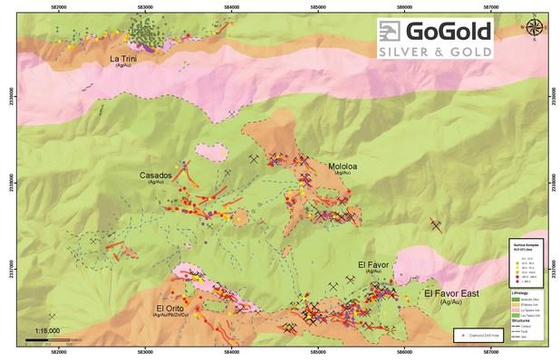 Figure 4: Plan View – La Trini to El Favor Area of Los Ricos North (CNW Group/GoGold Resources Inc.)