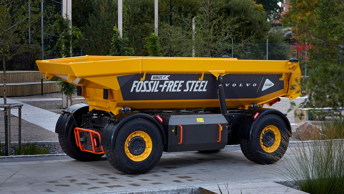 The World's first vehicle made of fossil free-steel. (PRNewsfoto/Volvo Group)