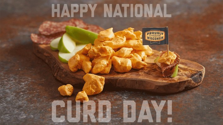 October 15th is National Cheese Curd Day . Celebrate like a Wisconsinite by taking a bite out of the snack that squeaks!